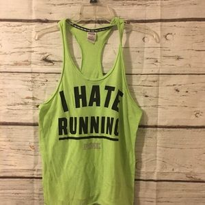 "PINK ""I HATE RUNNING"" Tank-Sz S"